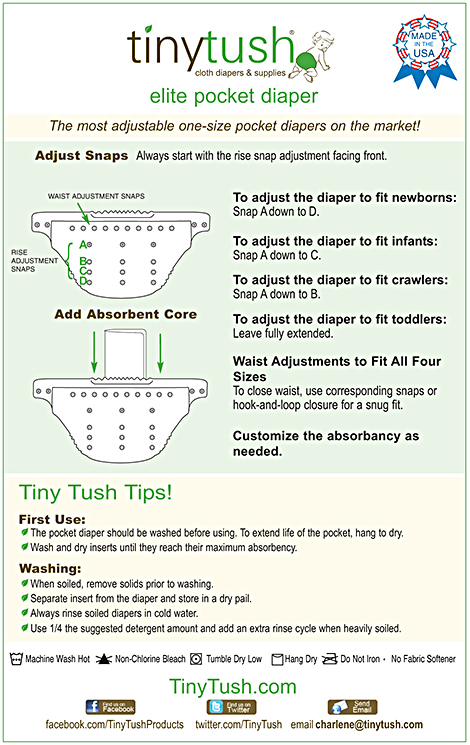 Tiny Tush Elite One Size Pocket Diaper Instructions