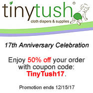 Tiny Tush Anniversary Celbration Sale On Cloth Diapers and Diapering Supplies