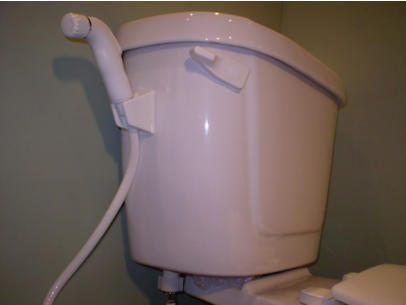 Diaper Sprayer Attached To The Toilet Tank