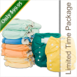 This Cloth Diapers and Diaper Covers Package Consists of...  7 Tiny Tush Trim 3.0 One Size Diapers (Aplix hook and loop closure in various colors) 2 Tiny Tush One Size Diaper Covers (original style without leg gussets)