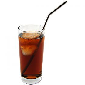 Slightly Bent Stainless Steel Straw  in a glass of soda