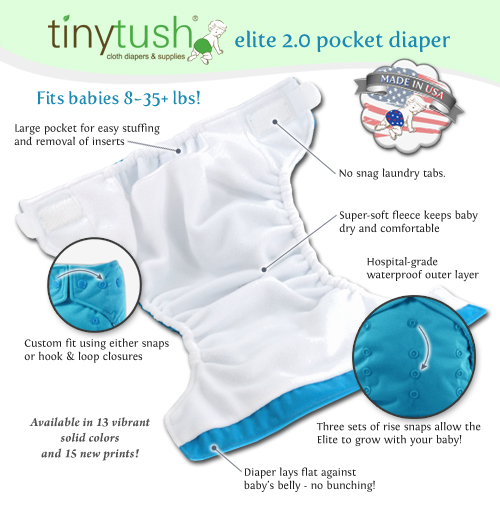 A pocket diaper is a 2-piece system with a diaper-shaped shell that has a pocket opening where you stuff an insert or anything absorbent. Moisture is wicked through the soft inner layer away from your baby's bottom to the insert, where it stays leak-free behind a soft, waterproof outer layer.
