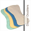 The Contour Diaper Doublers work fabulously with all cloth diapers because of the contour shape.  Simply lay one on top of your favorite cloth diaper or use alone inside of a diaper cover.