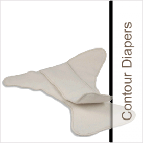 Made With 100% Absorbent Cotton. Parents enjoy using contoured cloth diapers because they are an economical alternative to fitted diapers. They are also a lot trimmer on your baby than prefold cloth diapers.
